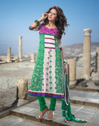 atisundar Rameshwari: Superb Unstitched Salwar Kameez In Green - 3017 - atisundar - 1 - click to zoom