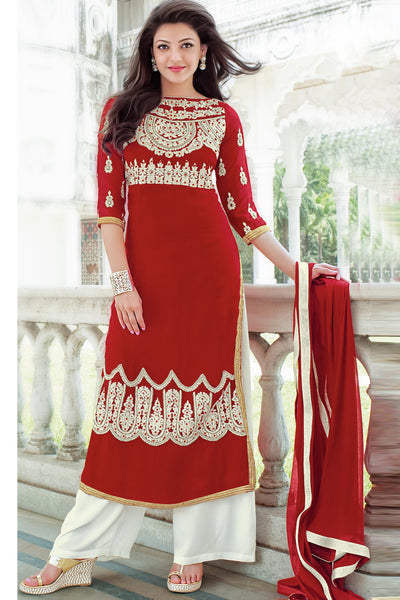 Designer Straight Cut:atisundar charming Red Designer Embroidered Straight Cut - 10633 - atisundar - 1 - click to zoom