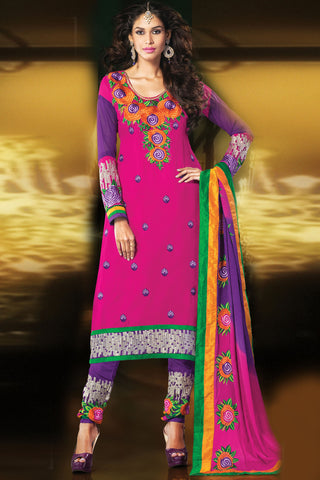 Designer Straight Cut:atisundar splendid Pink Designer Embroidered Straight Cut - 10671 - atisundar - 1 - click to zoom