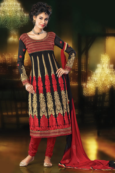 Designer Straight Cut:atisundar angelic Black Designer Embroidered Straight Cut - 10672 - atisundar - 1 - click to zoom