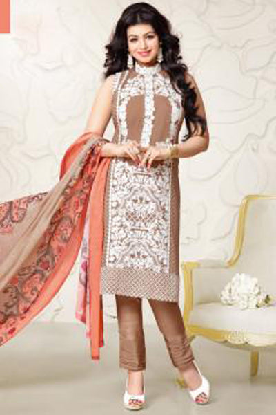 Designer Embroidered Straight Cut Suit:atisundar cute Brown Designer Straight Cut Embroidered Suits - 8957 - click to zoom
