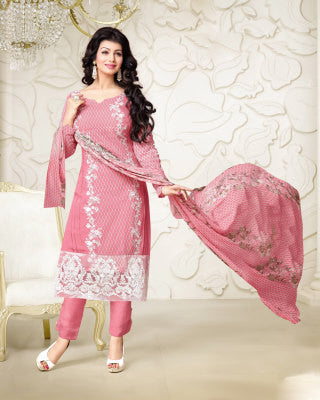 Designer Embroidered Straight Cut Suit:atisundar elegant Pink Designer Straight Cut Embroidered Suits - 8959 - click to zoom