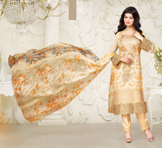 Designer Embroidered Straight Cut Suit:atisundar Superb Cream Designer Straight Cut Embroidered Suits - 8962 - click to zoom