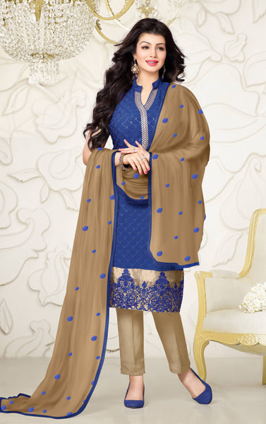 Designer Embroidered Straight Cut Suit:atisundar graceful Blue Designer Straight Cut Embroidered Suits - 8963 - click to zoom