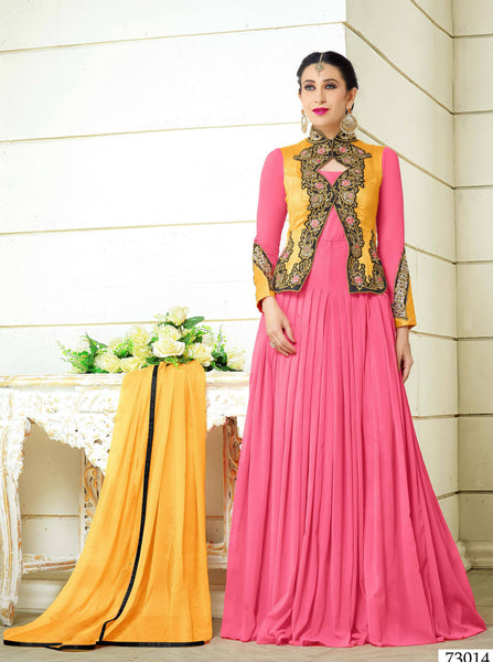 Designer Embroidered Anarkali and Straight Cut Suit:atisundar resplendent Pink Designer Embroidered Suits - 9111 - atisundar - 2 - click to zoom