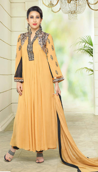Designer Embroidered Anarkali and Straight Cut Suit:atisundar splendid Beige Designer Embroidered Suits - 9114 - click to zoom