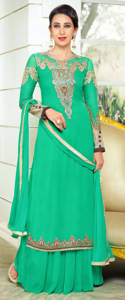 Designer Embroidered Anarkali and Straight Cut Suit:atisundar Lovely Green Designer Embroidered Suits - 9116 - click to zoom