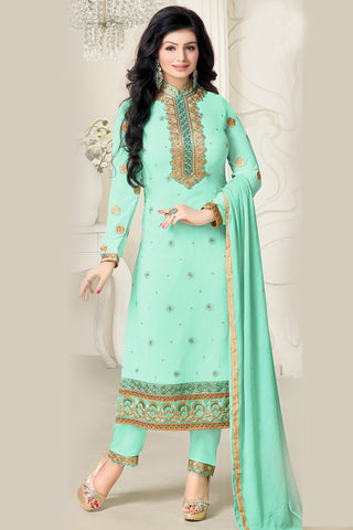 Designer Straight Cut:atisundar radiant Light Sea Green Designer Embroidered Straight Cut - 10601 - atisundar - 1 - click to zoom