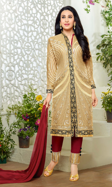 Designer Straight Cut Suits:atisundar Alluring Beige Designer Embroidered Straight Cut Suits In Faux Georgette - 9423 - click to zoom