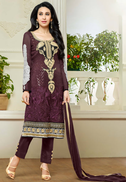 Designer Straight Cut Suits:atisundar enticing Purple Designer Embroidered Straight Cut Suits In Faux Georgette - 9427 - atisundar - 2 - click to zoom