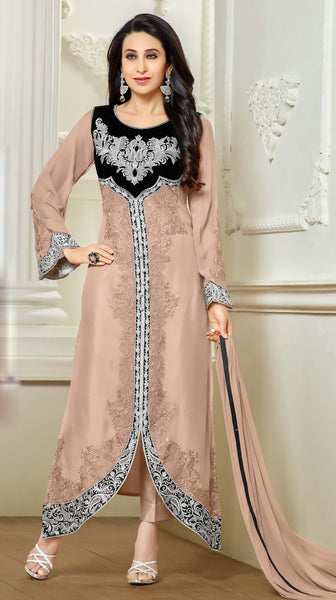 Designer Straight Cut Suits:atisundar graceful Beige Designer Embroidered Straight Cut Suits In Faux Georgette - 9434 - click to zoom