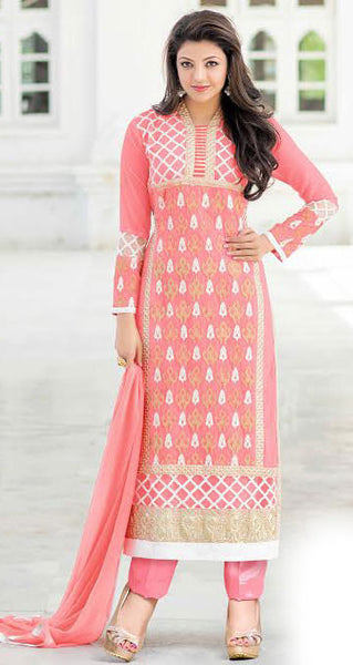 The Kajal Agrawal Collection:atisundar elegant Pink Designer Party Wear Straight Cut Suits In Faux Georgette - 9581 - atisundar - 1 - click to zoom