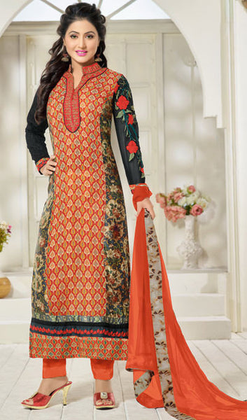 The Heena Khan Collection:atisundar magnificent Orange And Multi Designer Prints  with Embroidery  - 9778 - atisundar - 1 - click to zoom