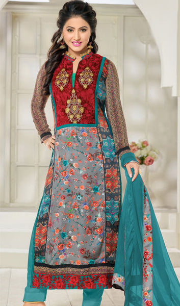 The Heena Khan Collection:atisundar charming Green And Grey And Multi Designer Prints  with Embroidery  - 9779 - atisundar - 1 - click to zoom