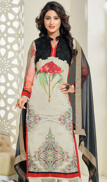 The Heena Khan Collection:atisundar radiant Off White And Black Designer Prints  with Embroidery  - 9781 - atisundar - 1 - click to zoom