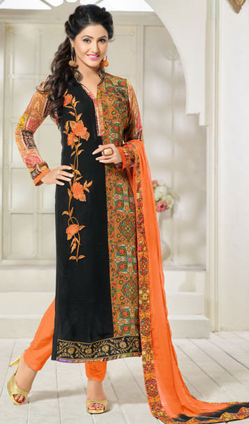 The Heena Khan Collection:atisundar magnificent Orange And Black Designer Prints  with Embroidery  - 9782 - atisundar - 1 - click to zoom