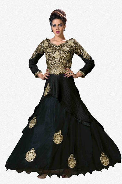 Designer Party Wear Lehenga:atisundar Alluring Shantoon Lehenga in Black - 7118 - atisundar - 2 - click to zoom