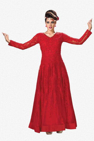 Designer Gowns!:atisundar Awesome Soft Net Designer Partywear Gowns in Red - 7056 - atisundar - 1 - click to zoom