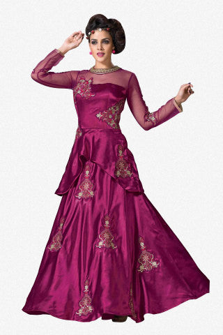Designer Gowns!:atisundar Smart Japan Satin Designer Partywear Gowns in Purple - 7058 - atisundar - 1 - click to zoom