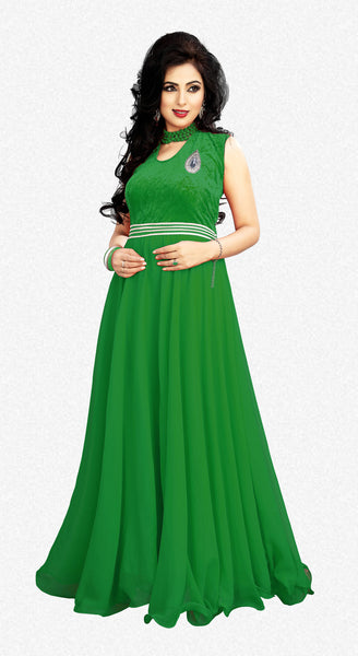 Designer Gowns:atisundar graceful Velvet And Georgette Designer Partywear Gowns in Green - 7030 - click to zoom