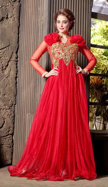 Designer Gowns!:atisundar pretty Soft Net Designer Partywear Gowns in Red - 7202 - atisundar - 3 - click to zoom