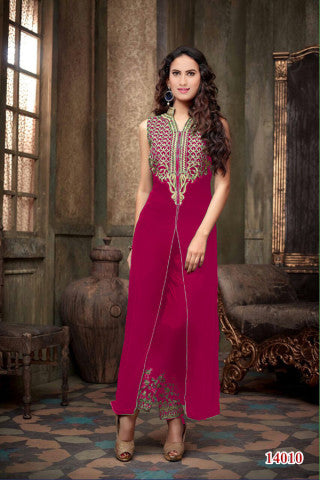 Designer Embroidered Straight Cut Suit:atisundar beauteous Peach Designer Straight Cut  - 9034 - atisundar - 1 - click to zoom