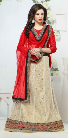Designer Lehenga:atisundar Beautiful Jacquard Lehenga in Red - 6984 - atisundar - 1 - click to zoom
