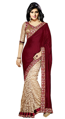Designer Partywear Saree!:atisundar gorgeous Designer Party Wear Sarees in Maroon And Beige  - 7741 - atisundar - 2