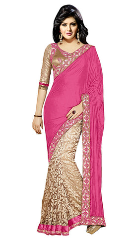 Designer Partywear Saree!:atisundar resplendent Designer Party Wear Sarees in Pink And Beige  - 7743 - atisundar - 2