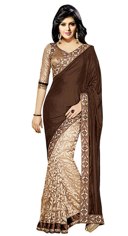 Designer Partywear Saree!:atisundar dazzling Designer Party Wear Sarees in Brown And Beige  - 7745 - atisundar - 2
