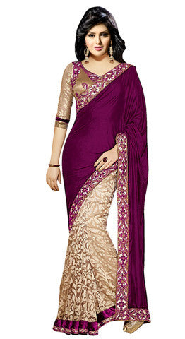 Designer Partywear Saree!:atisundar angelic Designer Party Wear Sarees in Purple And Beige  - 7746 - atisundar - 1 - click to zoom