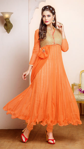 Designer Gown Style Suit:atisundar stunning Orange Anarkali - 7539 - atisundar - 3 - click to zoom