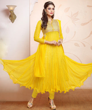 Designer Gown Style Suit:atisundar bewitching Yellow Anarkali - 7540 - atisundar - 1 - click to zoom