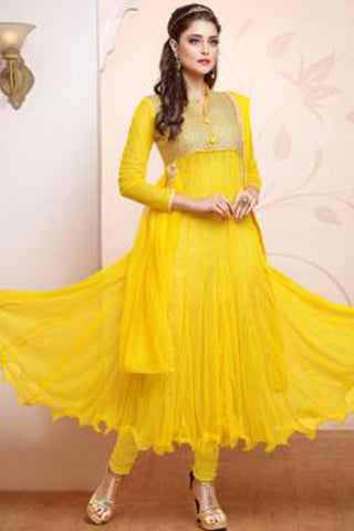 Designer Gown Style Suit:atisundar bewitching Yellow Anarkali - 7540 - click to zoom