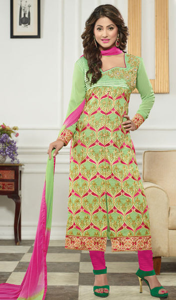 The Heena Khan Collection:atisundar beauteous Parrot Green  Designer Straight Cut  - 9962 - atisundar - 1 - click to zoom