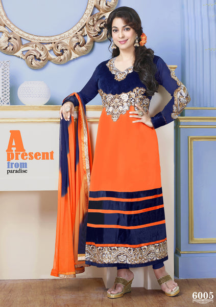 The Juhi Chawla Collection:atisundar fascinating   in Orange And Nevy Blue - 5206 - atisundar - 2 - click to zoom