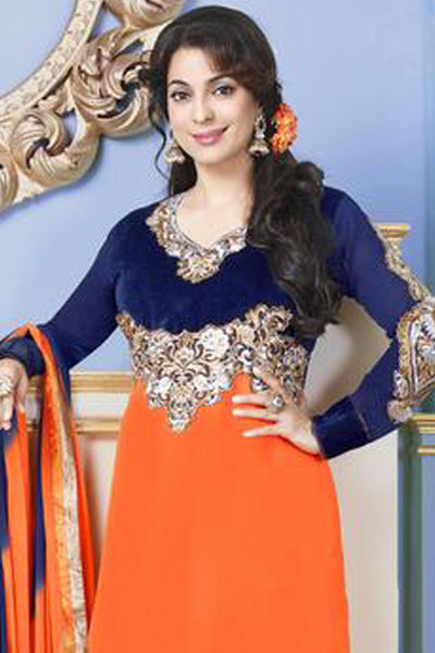 The Juhi Chawla Collection:atisundar fascinating   in Orange And Nevy Blue - 5206 - click to zoom