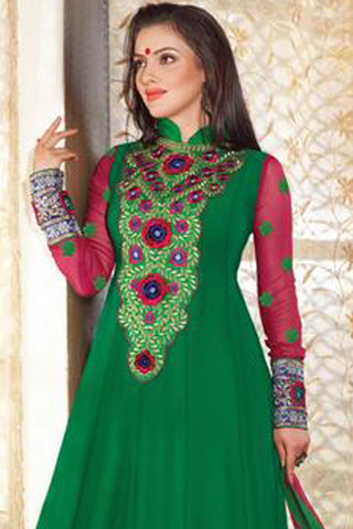 Lovely Embroidery Green Semi stitched Salwar Kameez By atisundar - 3342 - click to zoom