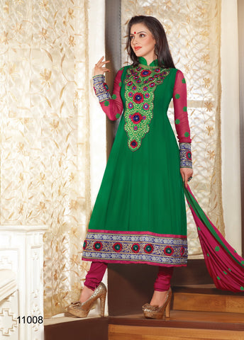 Lovely Embroidery Green Semi stitched Salwar Kameez By atisundar - 3342 - atisundar - 2 - click to zoom