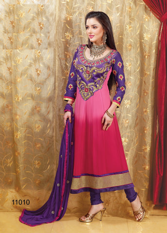 atisundar Nileen: Classy Semi stitched Embroidered Anarkali in Pink - 3347 - atisundar - 3