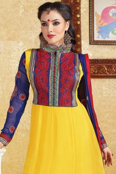 atisundar Shivangi: Alluring Semi stitched Salwar Kameez In Yellow - 3343 - click to zoom