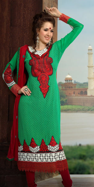 atisundar Roja: Lovely Embroidery Green Unstitched Salwar Kameez By atisundar - 3350 - atisundar - 3 - click to zoom