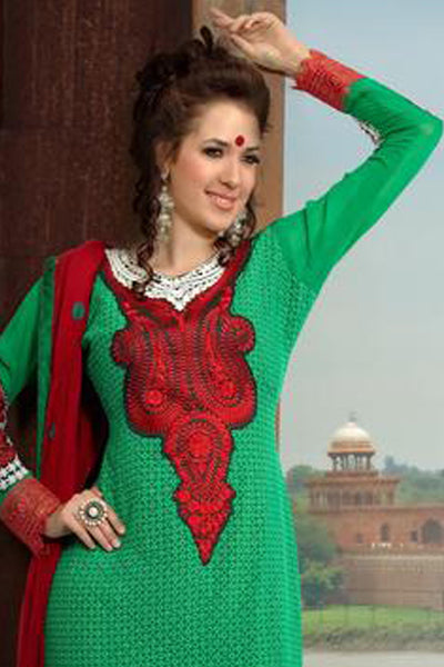 atisundar Roja: Lovely Embroidery Green Unstitched Salwar Kameez By atisundar - 3350 - click to zoom