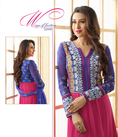 The Karishma Kapoor Collection:Beautiful Designer Bollywood Anarkali in Pink and Blue  - 4166 - atisundar - 2