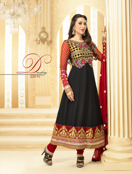 The Karishma Kapoor Collection:Resplendent Designer Bollywood Semi stitched Anarkali in Black  - 4170 - atisundar - 3 - click to zoom