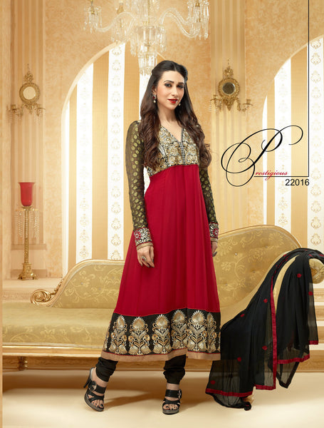 The Karishma Kapoor Collection: Stunning Semi-stitched Designer Bollywood Anarkali - 4176 - click to zoom