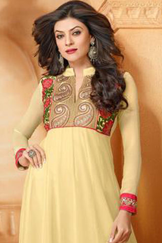 The Sushmita Sen Collection:Exquisite Designer Bollywood Anarkali Cream Semi stitched Salwar Kameez By atisundar - 4442