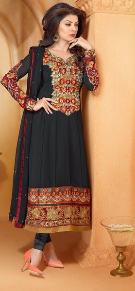 The Sushmita Sen Collection:atisundar Manushri: Comely Semi stitched Salwar Kameez In Black - 4443 - atisundar - 2 - click to zoom