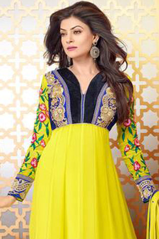 The Sushmita Sen Collection:atisundar Devasree: Fascinating Semi stitched Designer Bollywood Anarkali Salwar Kameez - 4444