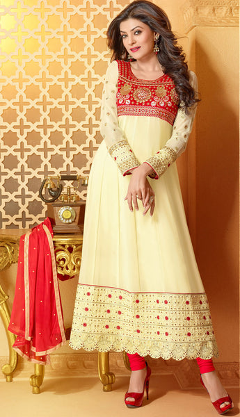 The Sushmita Sen Collection:Charming Designer Bollywood Anarkali Cream Semi stitched Salwar Kameez By atisundar - 4448 - atisundar - 1 - click to zoom